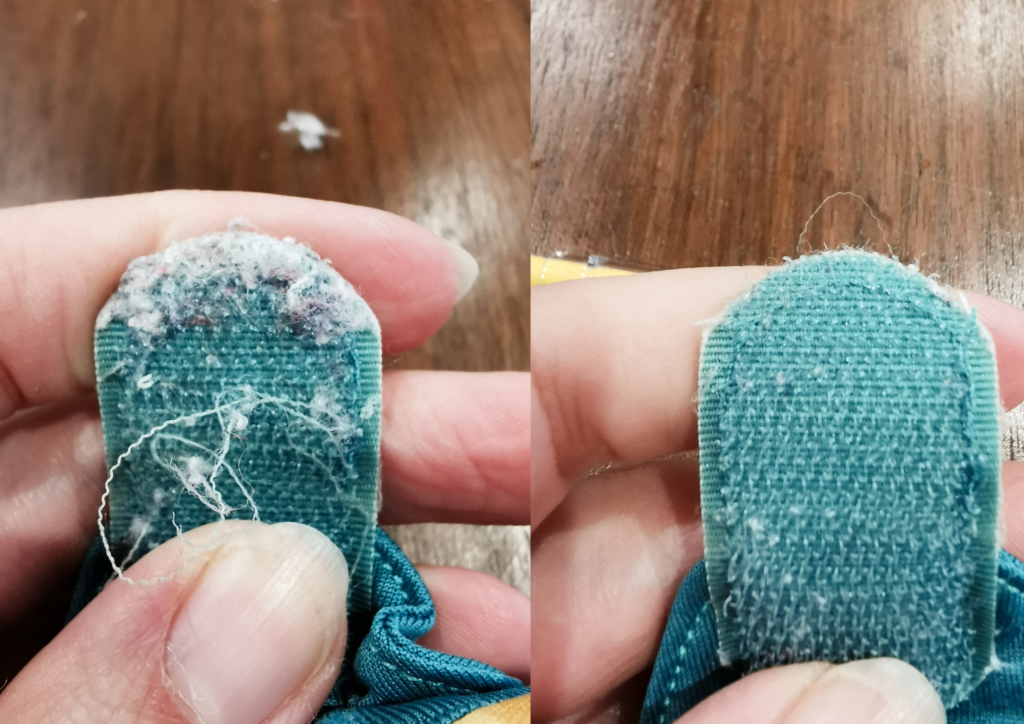 Image shows aplix fastening on a close pop-in nappy before and after cleaning